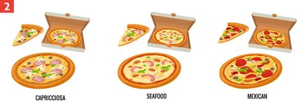 Whole pizza and slices of pizza in open white box. Mexican, Seafood, Capricciosa. Vector isolated flat illustration for Royalty Free Stock Photography