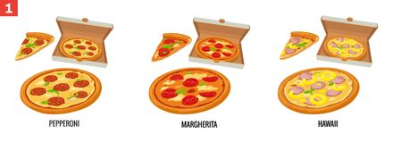 Whole pizza and slices of pizza in open white box. Pepperoni, Hawaiian, Margherita. Vector isolated flat illustration Royalty Free Stock Image