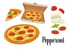 Whole pizza and slices of pizza pepperoni in open white box. Isolated  flat illustration on white background. For poster, me Royalty Free Stock Photo