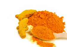 Whole and powdered turmeric Royalty Free Stock Photography