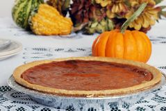 Whole pumpkin pie Stock Photos