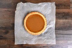 Whole Pumpkin Pie Stock Photo