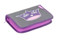 WHOLE PUPILS PENCIL BOX OVER WHITE.  royalty free stock photography