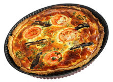 Whole quiche in baking pan Stock Images