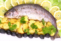 Whole rainbow trout grilled with potatoes, lemons. Olives royalty free stock image