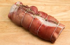 Breast of welsh lamb. A whole raw breast of Welsh lamb rolled and stuffed Royalty Free Stock Photography