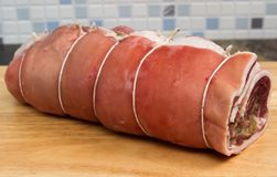 Breast of welsh lamb. A whole raw breast of Welsh lamb rolled and stuffed Royalty Free Stock Photos