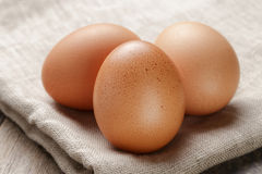 Whole raw brown eggs closeup on wood table Royalty Free Stock Image