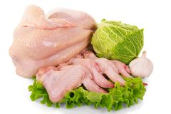 A whole raw chicken carcass and wings, Savoy cabbage, garlic, le. Ttuce leaves isolated on white background Stock Photo