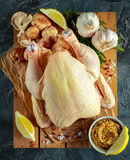 Whole Raw Chicken with ingredients for cooking. on stone background.  Stock Photos