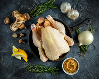 Whole Raw Chicken in iron pan, with ingredients for cooking. on stone background Stock Photography