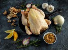 Whole Raw Chicken in iron pan, with ingredients for cooking. on stone background Royalty Free Stock Photography