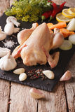 Whole raw chicken with vegetables and spices on a slate board. V Royalty Free Stock Images