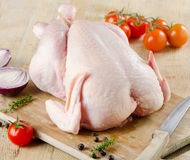 Whole raw chicken Royalty Free Stock Images