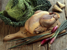 Whole raw guinea-fowl Stock Photos