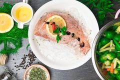 Whole raw organic fish sea perch on ice cubes in white plate on a dark table background with black pepper, olive oil, dill, cilant. Ro, hyssop spices, parsley royalty free stock images