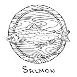 Whole Raw Salmon Fish on Round Cutting Board. For Cooking, Holiday Meals, Recipes, Seafood Guide, Menu. Hand Drawn Illustration. S. Avoyar Doodle Style Stock Image