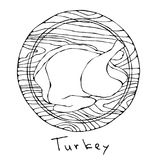 Whole Raw Turkey, Chicken Carcass on Round Cutting Board. For Cooking, Holiday Meals Christmas, Thanksgiving , Recipes, Meat Guide. Butcher, Menu. Hand Drawn Royalty Free Stock Photo