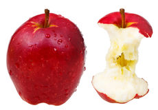 Whole red delicious apple and its core Royalty Free Stock Photos