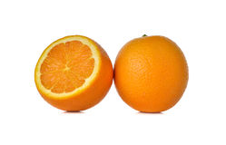 Whole ripe orange on white Royalty Free Stock Photography