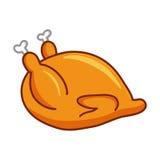 Whole roast chicken. Isolated illustration on white background Royalty Free Stock Image