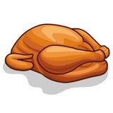 Whole roast chicken isolated illustration Stock Images
