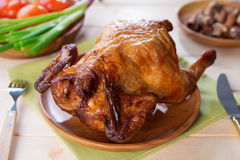 Whole roast chicken ready to eat Stock Image