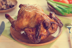 Whole roast chicken ready to eat Royalty Free Stock Photo