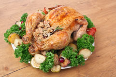 Whole Roast Stuffed Chicken Stock Image