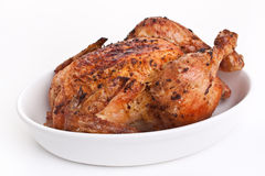 Whole Roasted Chicken. Whole Chrispy Roasted Chicken in White Dish stock image