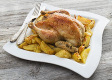 Whole roasted chicken Royalty Free Stock Photography