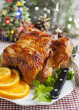 Whole roasted chicken for Christmas dinner Stock Photo