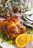 Whole roasted chicken for dinner. Whole roasted chicken for Christmas dinner Royalty Free Stock Photo