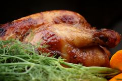 Whole roasted chicken with fresh vegetables Royalty Free Stock Image