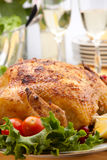 Whole Roasted Chicken On Table Royalty Free Stock Images