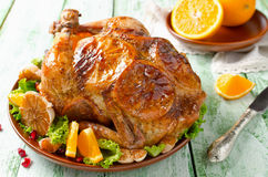 Whole roasted chicken with oranges Royalty Free Stock Photo