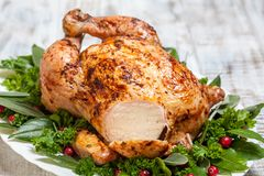 Whole Roasted Chicken for holidays Stock Photography
