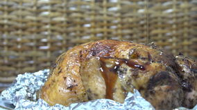 Whole roasted chicken with sauce stock video footage