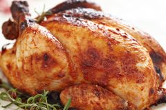 Whole Roasted Chicken Stock Photography