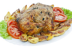 Whole roasted chicken on white background. Whole roasted chicken on plate with vegetables, isolated Royalty Free Stock Image