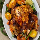 Whole Roasted holiday chicken Royalty Free Stock Photography