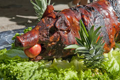 Whole roasted pig. At a Chinese BBQ Royalty Free Stock Photo