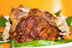 Whole roasted pork stock images