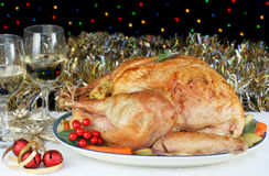Whole Roasted Stuffed Turkey at Christmas Stock Image