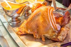 Whole Roasted traditional Turkey with condiments royalty free stock photo