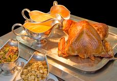 Whole Roasted traditional Turkey with condiments stock images