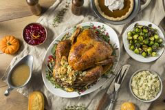 Whole Roasted Turkey Dinner For Thanksgiving. With All the Sides stock photos