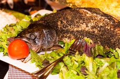 Whole salmon fish cooked in oven with green salad Stock Image