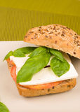 Whole sandwich with flax seeds Stock Images