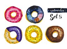Watercolor Set of fried donuts coated with glaze. The whole set made in watercolor technique includes delicious looking donuts covered with glaze. The doughnuts royalty free illustration